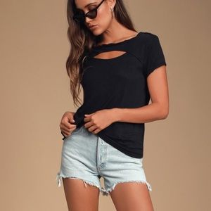 free people june black cutout tee
